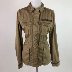 Sonoma Womens Khaki Cargo Jacket Zip Up Utility
